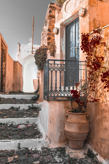 Greek street in orange tones