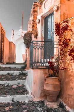 Greek street in orange tones