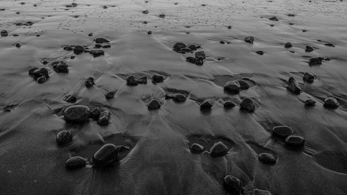 Black and white ocean surf