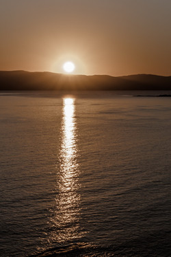 Sunset in a lagoon on the Mediterranean