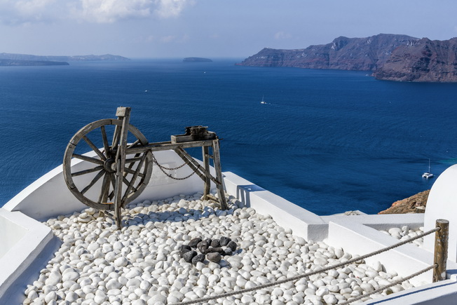 Wooden spinning wheel on the Mediterrane