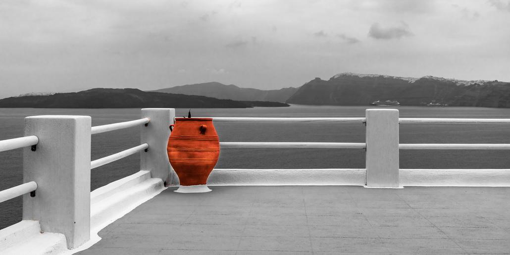 Clay vase on the Mediterranean balcony