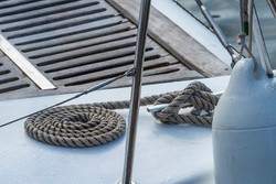 Rope on deck of yacht