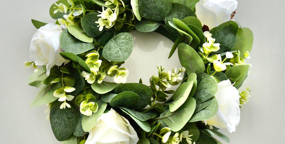 White Rose And Greenery Wedding Wreath