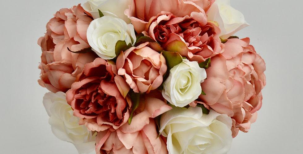 Dusty Pink Peony & White Rose Wedding Bouquet