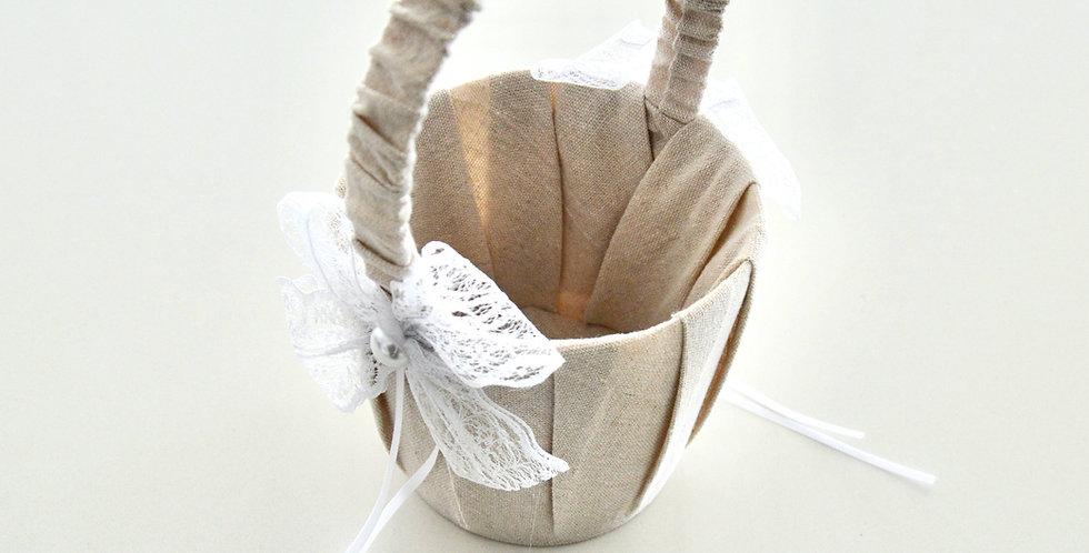 Pale Burlap Flower Girl Basket
