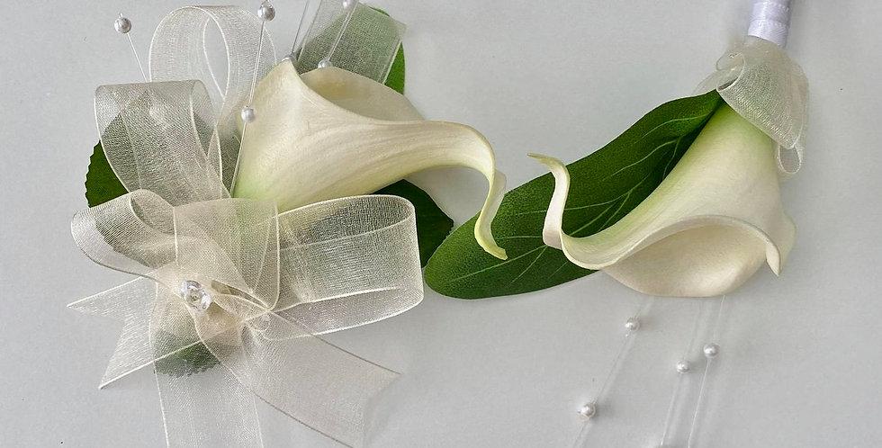 Cream Calla Lily Wrist Corsage And Buttonhole