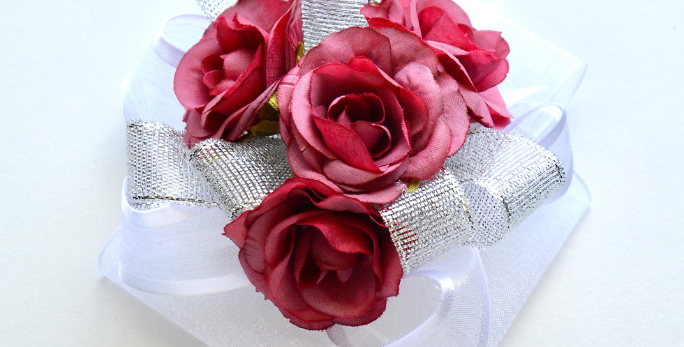 Magenta Pink And Silver Rose Wrist Corsage