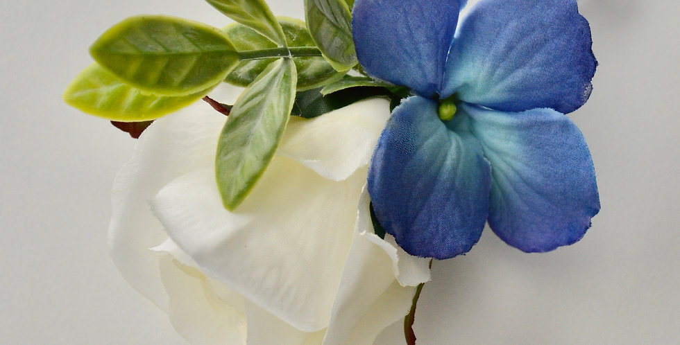 White Rose & Blue Hydrangea Groomsmen's Buttonhole