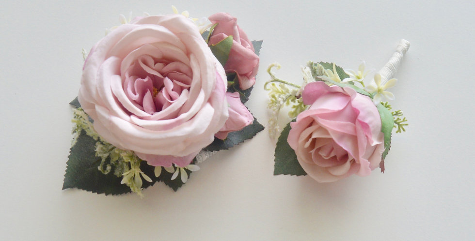Blush Pink School Ball Wrist Corsage & Buttonhole