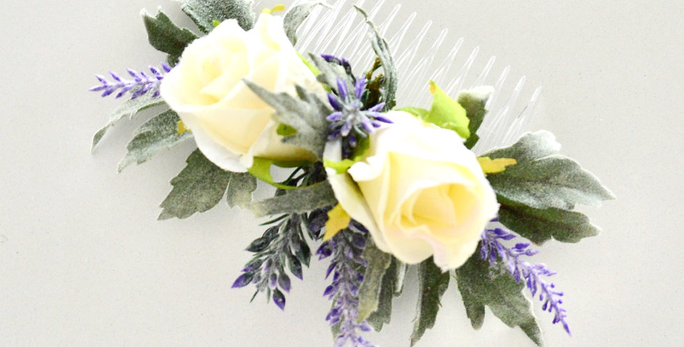 Ivory Rose And Lavender Bridal Hair Comb