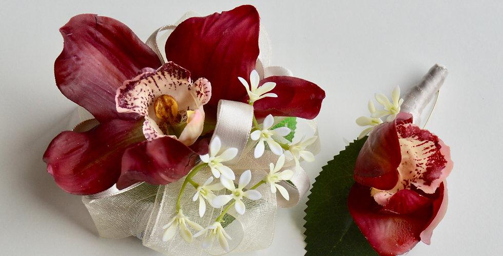 Burgundy Orchid School Ball Wrist Corsage & Buttonhole