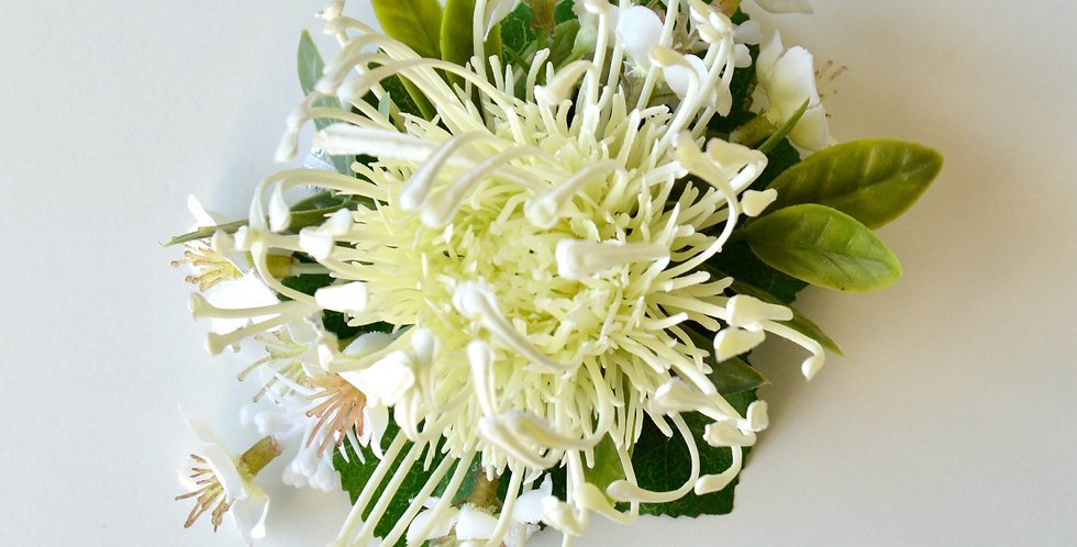 Native Pincushion/Geraldton Wax School Ball And Wedding Wrist Corsage