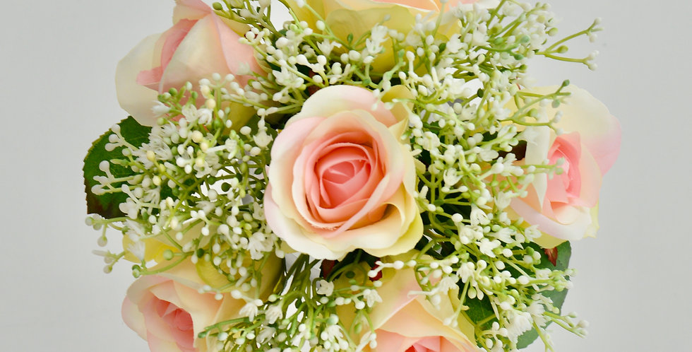 Pink Rose & Babies Breath Wedding Bouquet