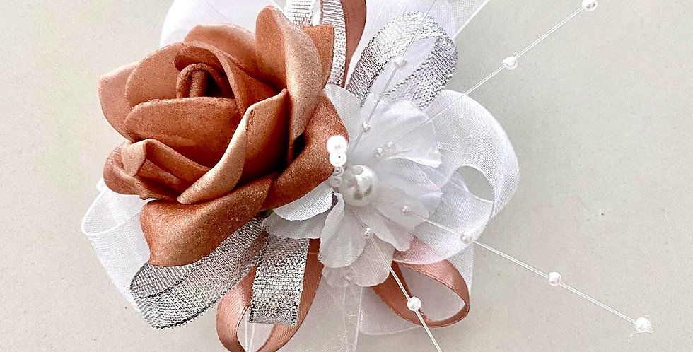 Rose Gold And Silver Wrist Corsage