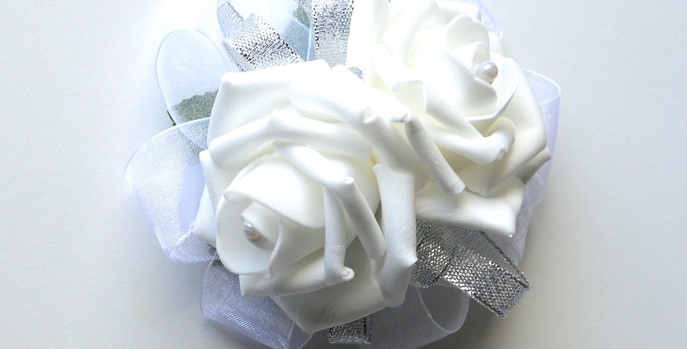 White Rose And Pearl Wrist Corsage