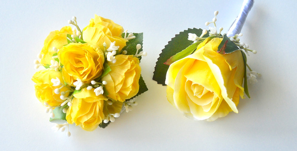 Yellow Spray Rose Wrist Corsage And Buttonhole