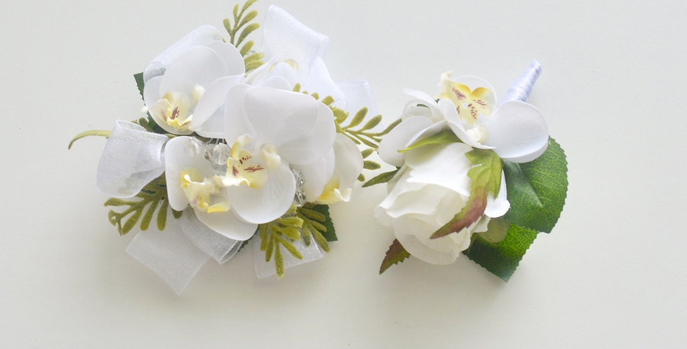 Rustic White Orchid School Ball Wrist Corsage & Buttonhole