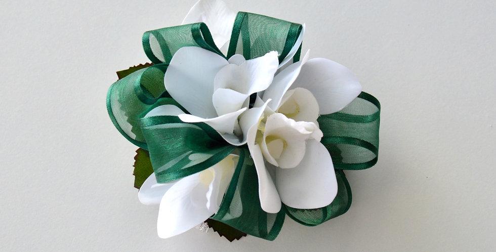 Emerald & White School Ball Wrist Corsage