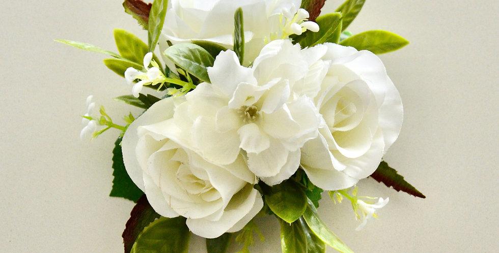 Rustic White Rose Wrist Corsage