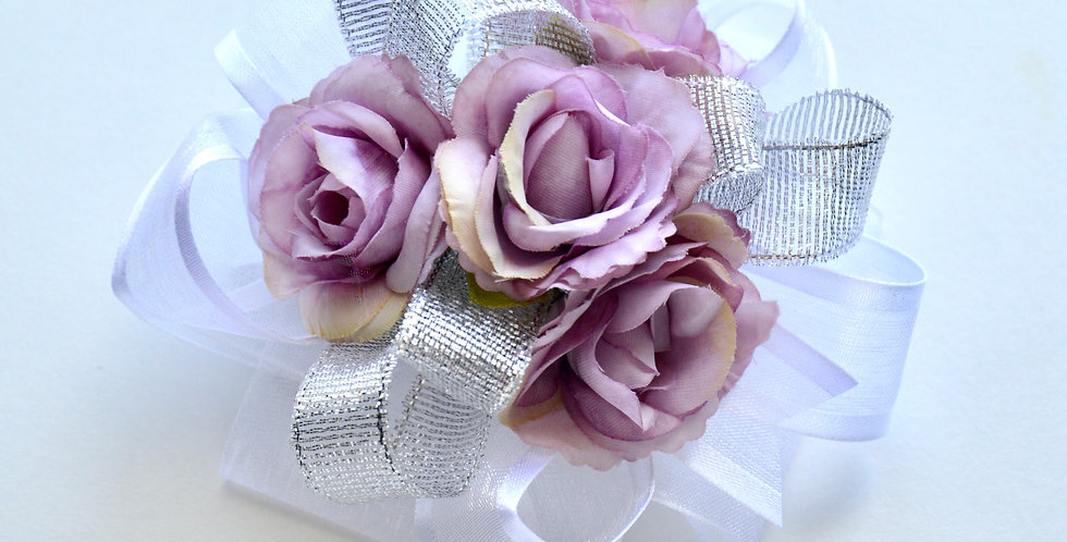 Lilac And Silver Rose Wrist Corsage