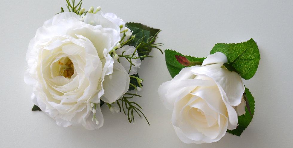 White Ranunculus & Rose Wrist Corsage & Buttonhole Set