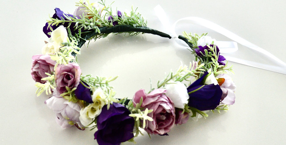 Lisianthus And Rose Adult Flower Crown