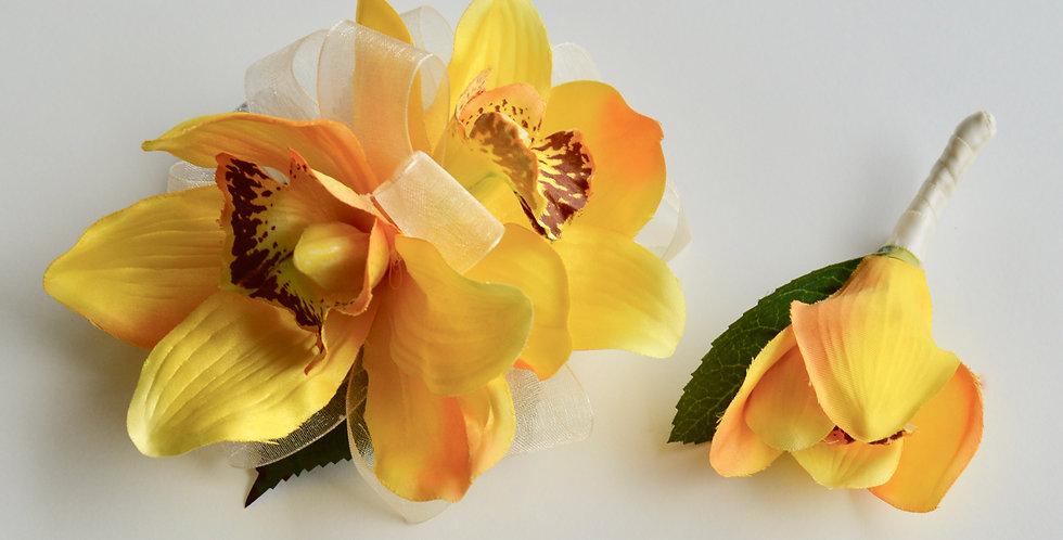 Golden Orchid School Ball Wrist Corsage & Buttonhole