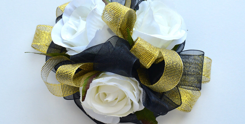Deluxe Black, Gold And White Rose Wrist Corsage