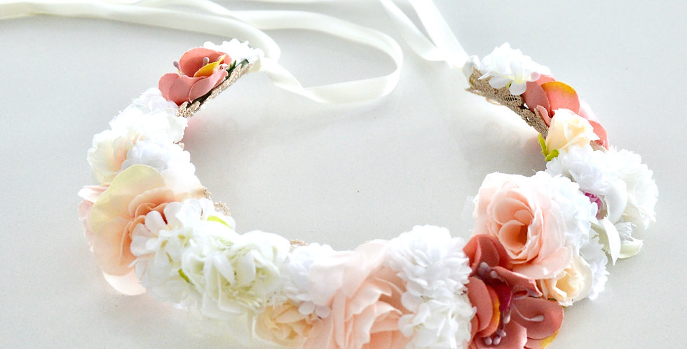 White And Pink Floral Mix Flower Crown