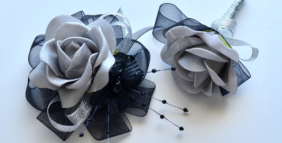 Black And Silver Rose Wrist Corsage And Buttonhole