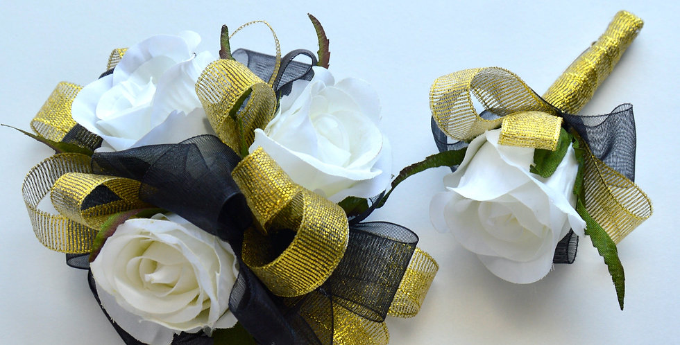Deluxe Black, Gold And White Rose Wrist Corsage And Buttonhole