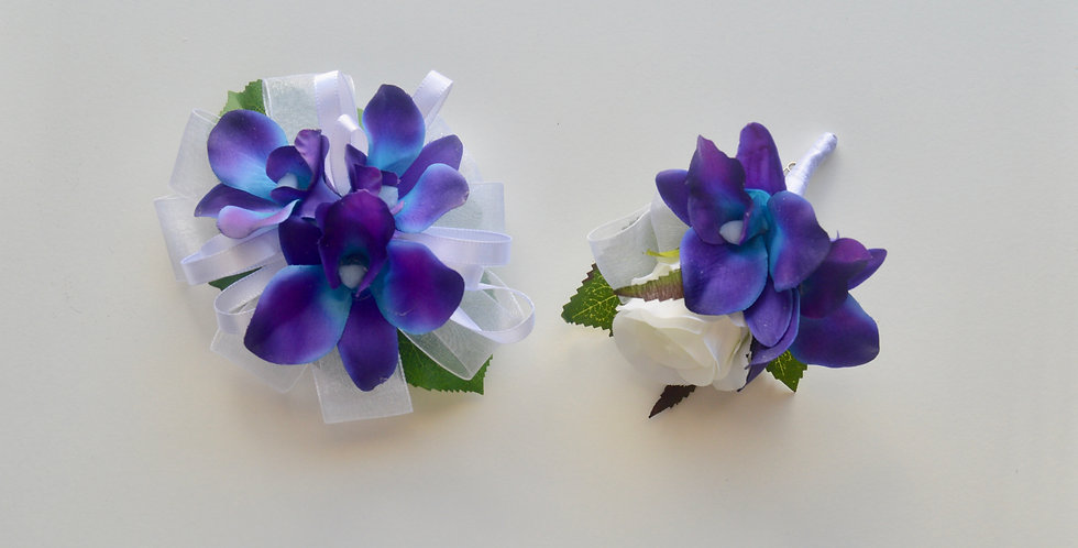 Galaxy Orchid School Ball Corsage & Buttonhole