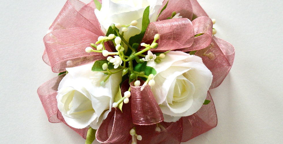 Dusty Pink And White Rose Wrist Corsage