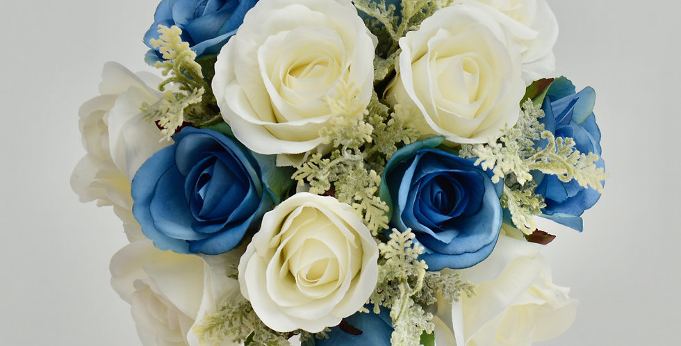 Blue & White Rose Wedding Bouquet