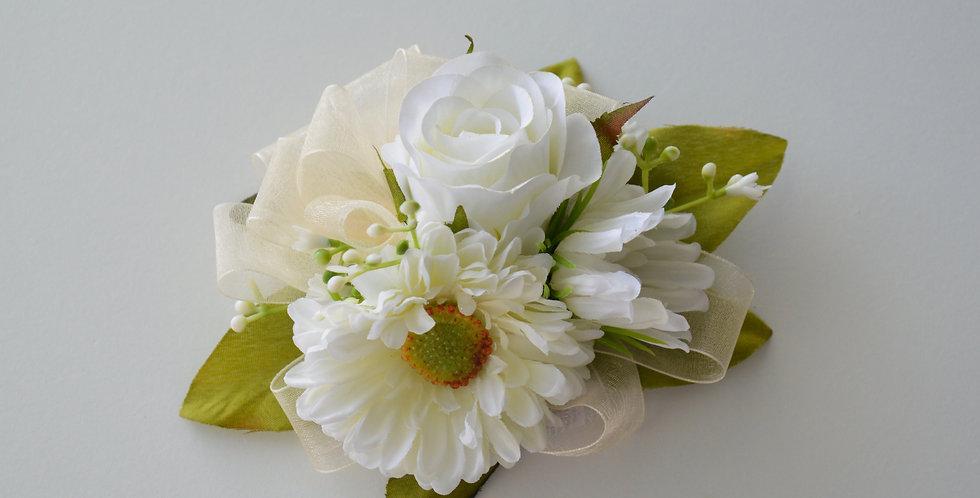 White Daisy & Rose School Ball Wrist Corsage