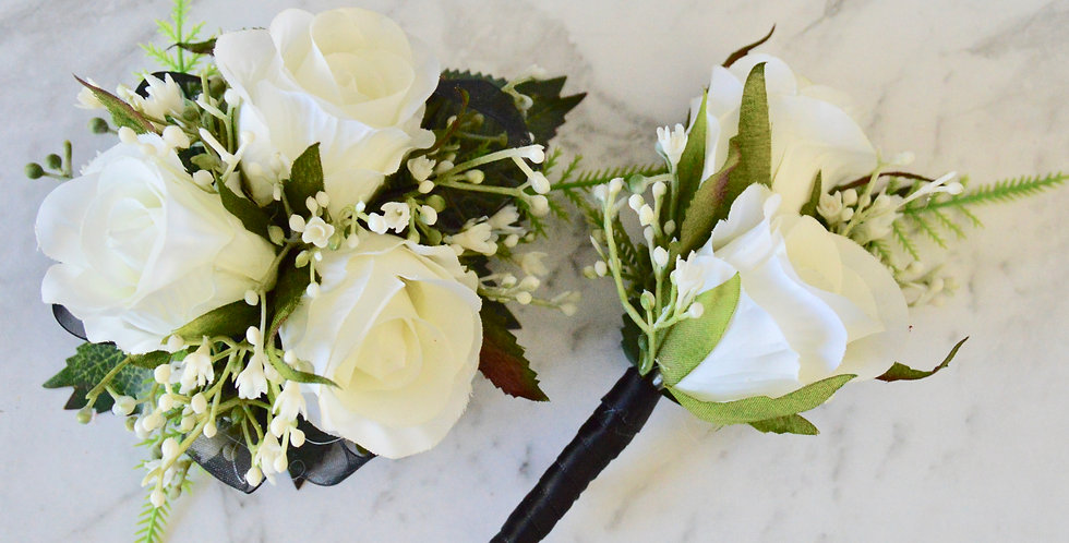 White Rose, Babies Breath, Black Ribbon Wrist Corsage, Buttonhole Set
