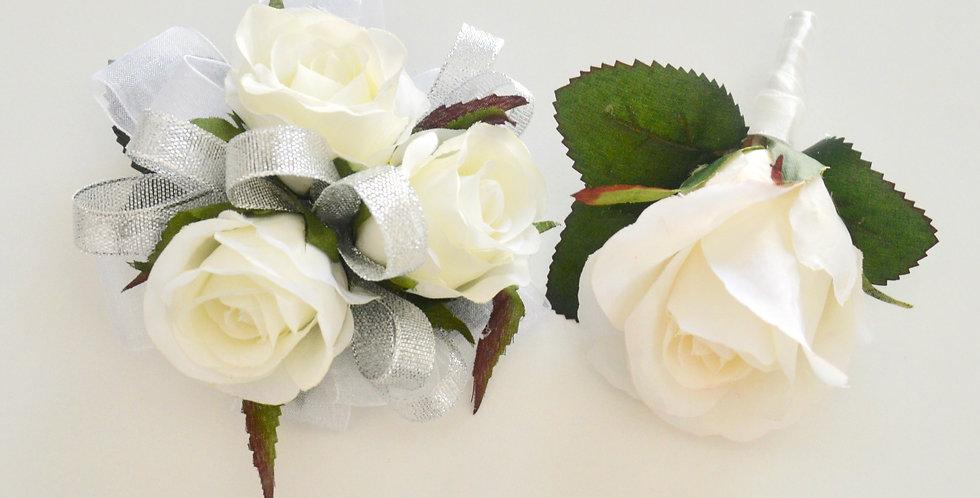 White & Silver Rose School Ball Wrist Corsage & Buttonhole