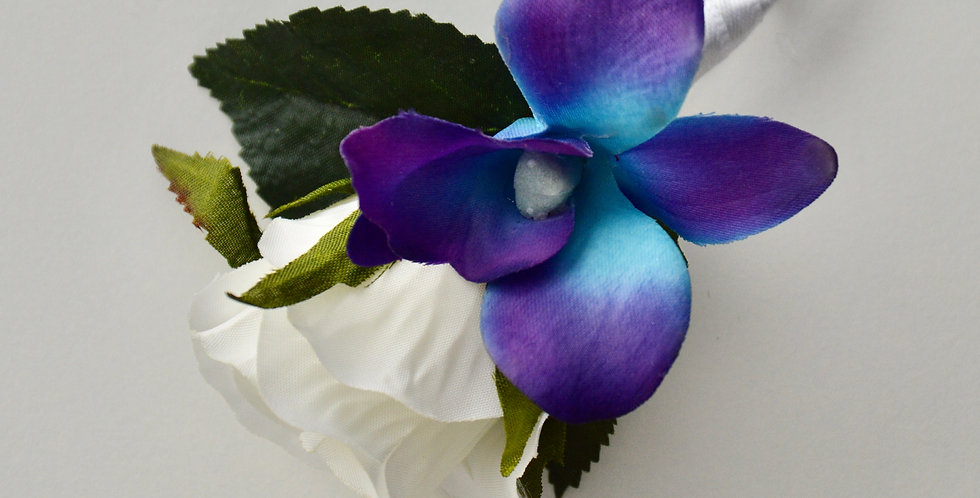 Galaxy Orchid & White Rose Groomsmen's Buttonhole