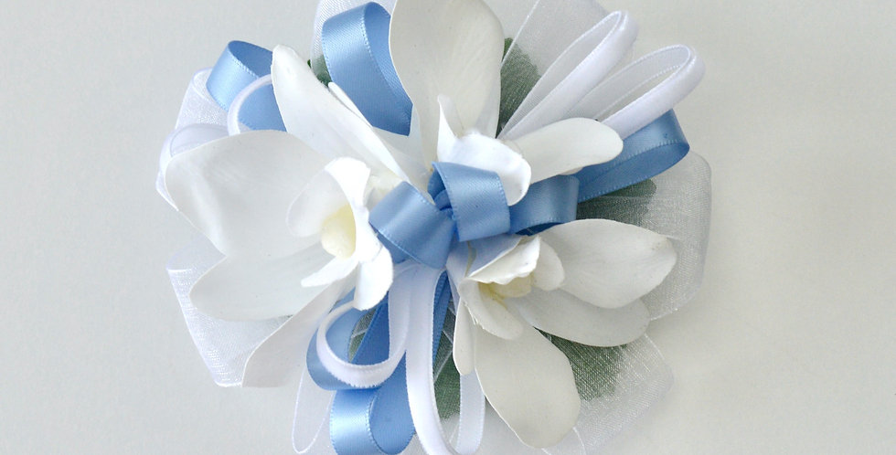 Pale Blue And White Orchid Wrist Corsage
