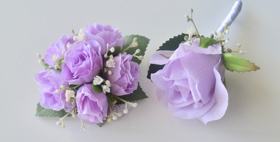 Lilac Spray Rose Wrist Corsage And Buttonhole