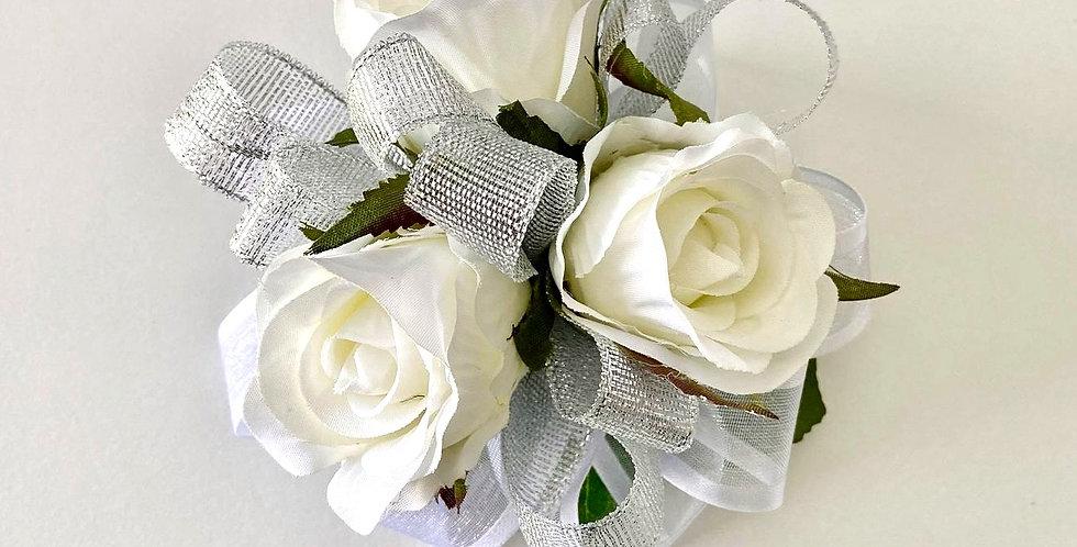 White & Silver Rose School Ball Wrist Corsage
