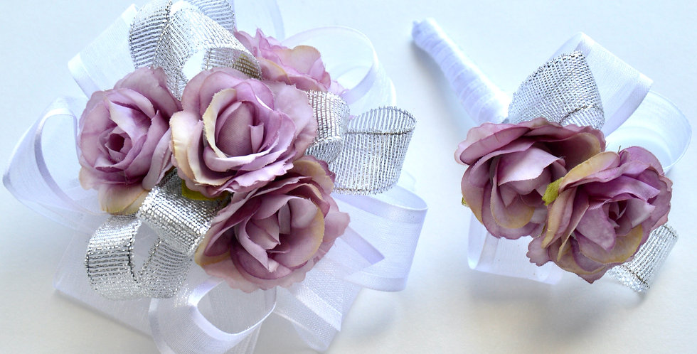 Lilac And Silver Rose Wrist Corsage And Buttonhole