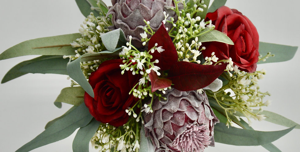 Burgundy Rose & Protea Wedding Bouquet