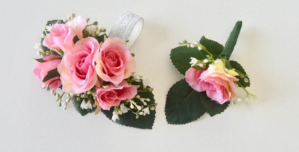 Pink & Babies Breath School Ball Wrist Corsage & Buttonhole