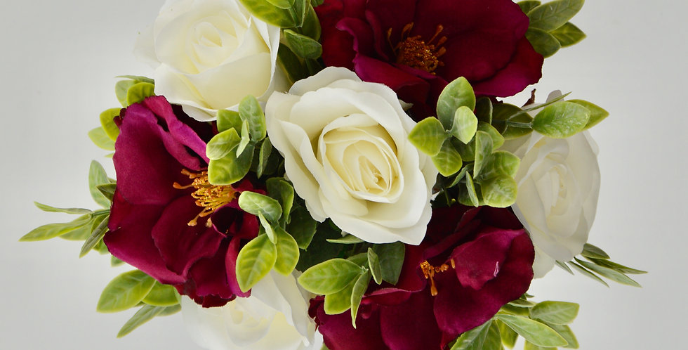 Rustic Magenta & White Rose Wedding Bouquet
