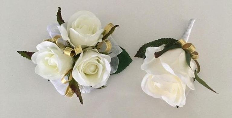 White & Gold Rose Wrist Corsage & buttonhole Set