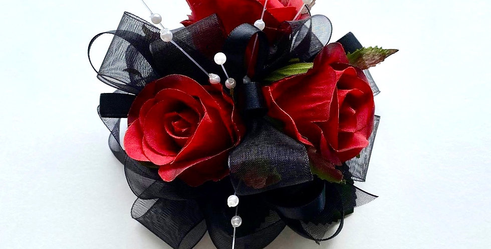 Deluxe Black And Dark Red Rose Wrist Corsage