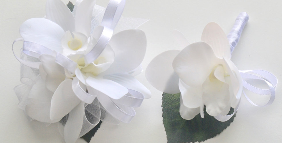 White Orchid School Ball Wrist Corsage And Buttonhole