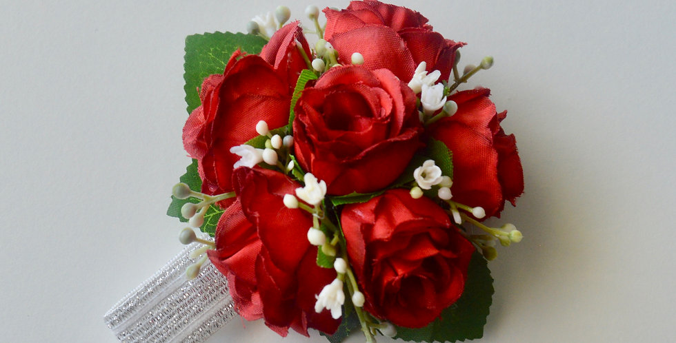 Burgundy/Red Spray Rose School Ball Wrist Corsage